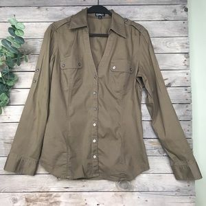 Express | olive long sleeve button down blouse
